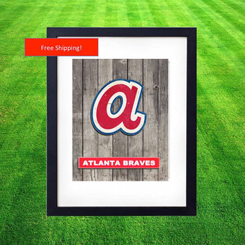 1969 Vintage Atlanta Braves World Series Jersey Logo Poster Man Cave Baseball MLB Gift for Him Fathers Day Art Framed Poster Hank Aaron