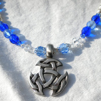 Celtic Scottish Open Triad Blue Light Blue White Necklace
