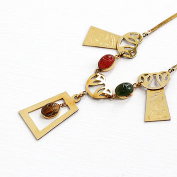 Vintage 14k Yellow Gold Overlay Scarab Necklace - Retro 1950s Carved Tiger's Eye, Carnelian, Egyptian Revival Jewelry Hallmarked Simmons