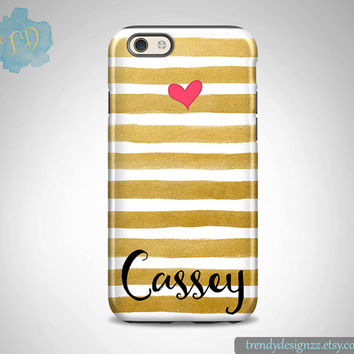 Monogram iPhone case, Personalized iPhone case, iPhone 6 case 6s 6 plus Samsung S6 Edge S5 S4 case, Gold Stripes Gold iPhone Case (19)