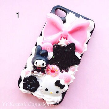 Ready to Ship My Melody vs kitty spooky kawaii decoden phone case for Iphone 4/4s