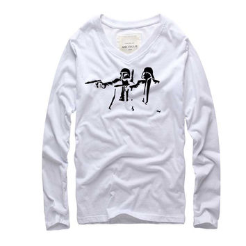 2016 new  brand clothing Star Wars Long Sleeve Cotton T shirt Men Funny with T-shirt Men Famous Brand in Soft Cotton Tops Tees