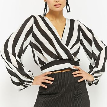 Striped Chiffon Surplice Top