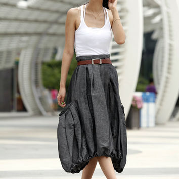 Lagenlook Dark Grey Side Pockets Casual Pleat Long Maxi Skirt - NC409
