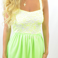 Central Park Walk Neon Green Lace Tube Dress