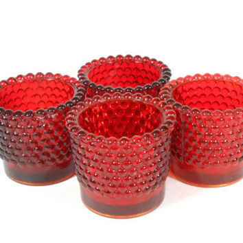 Red Hobnail Votive Candle Holder Set Ruby Red Hobnail Glass Retro