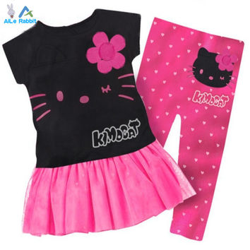 1 Set Retail 2015 Hot Sale Girls set 100% cotton kids clothing set, T-shirt+pant, hello kitty children set, 2 colors