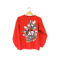 Mickey Mouse Christmas Sweatshirt 80s Disney Xmas Red Holiday Sweater Goody Donald Duck Minnie Pluto Small Medium