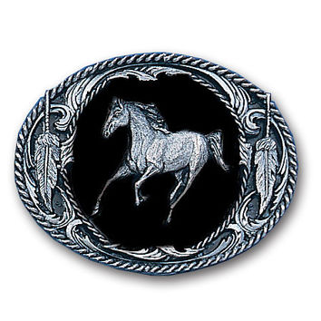 Running Horse  (Diamond Cut) Enameled Belt Buckle