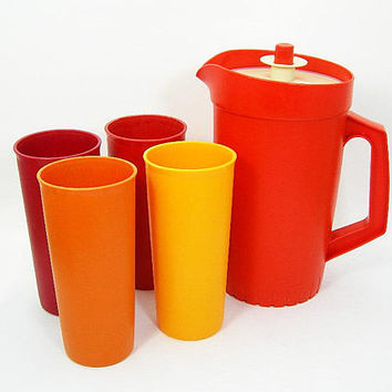 Vintage Tupperware 42 oz Juice Pitcher and Four 12 oz Glasses in Fall Colors of Orange, Yellow, Cranberry Red - 1970s Plastic Kitchenware