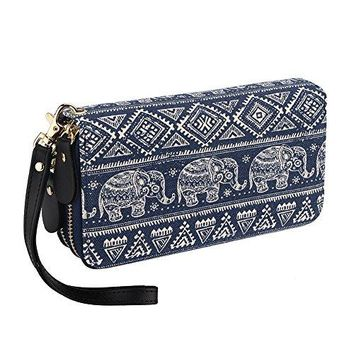 Bohemian Purse Wallet Canvas Elephant Pattern Handbag with Coin Pocket and Strap
