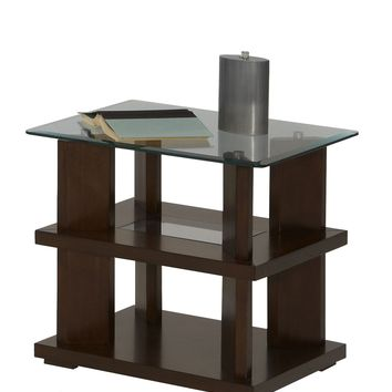 Delfino Contemporary Rectangular End Table Burnished Cherry