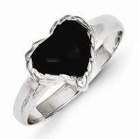 Sterling Silver Onyx Heart Ring