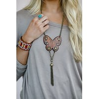 Butterfly Leather Boho Necklace