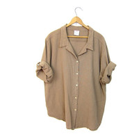Basic boxy beige blouse light brown button up minimal textured cotton tshirt Sea Breeze minimal slouchy tee shirt DELLS Womens Large