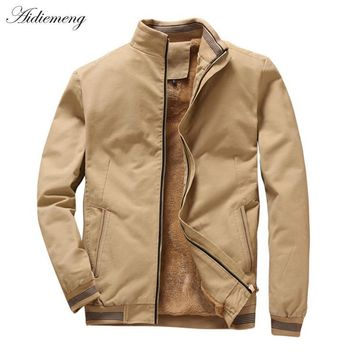 Trendy Winter Fleece Jacket Men 2018 Casual Bomber Jacket Men Windbreaker Fashion Cotton Warm Men Jacket Male Coat For Men Outwear Coat AT_94_13