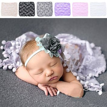 Newborn Baby Toddler Tassel Prop Blanket Rug Lace Wrap Cloth Photo Photography