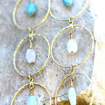Sorrento. Turquoise, White and Sage Rough Cut Aquamarine and Gold Hammered Hoop Earrings.