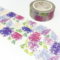 Hydrangea washi tape 7M purple flower hot pink flower Hydrangea flower sticker tape colorful wedding flower gardening planner flower decor