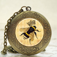Locket - Antique Bronze Photo Art Locket - Queen Bee Bumble Bee Locket with Necklace and Matching Gift Tin