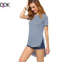 DIDK Summer Woman Tee Shirts Fashion Womens Casual Clothing Blue Striped Short Sleeve Round Neck High-Low T-shirt
