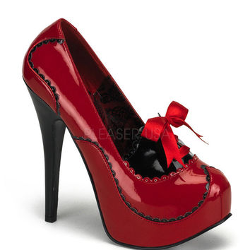 Bordello Red and Black Patent Stilettos