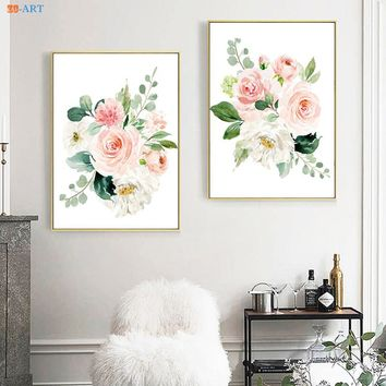 Canvas Painting Blush Pink and Mint Watercolor Floral Paintings Peach Light Pink Poster and Print Nursery Wall Art Home Decor