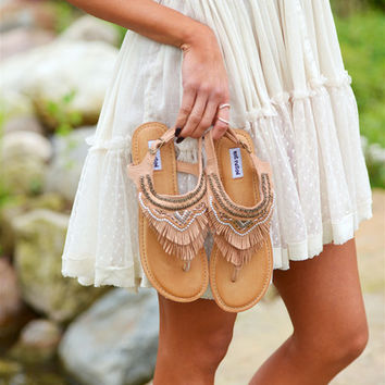 Journey On Fringe Sandals - Tan