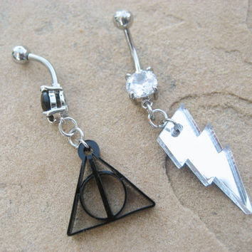 Choose Your Charm- Belly Button Ring Lightening Bolt Triangle Navel Piercing Body Jewelry Harry Potter Symbol