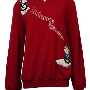 Alfred Dunner Women's Embroidered Singing Penguins Fleece Sweater