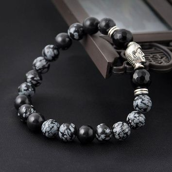 Natural Stone Buddha arm warmers With Stones Beads Men Turkish Jewelry Pulseira Masculina Lava energy warmer