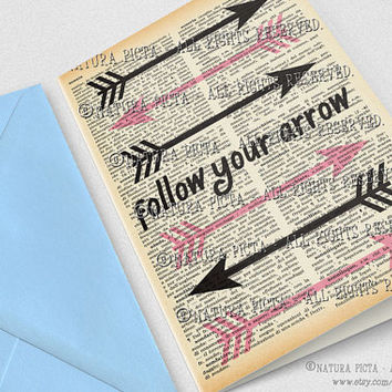 Follow your arrow quote Greeting Card-4x6 in-Birthday card-Boho card-Invitation-Hipster card-Arrows card-Custom-design NATURA PICTA NPGC078