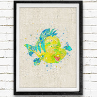 Flounder Little Mermaid Watercolor Print, Disney Baby Girl Nursery Decor, Wall Art, Home Decor, Gift Idea, Not Framed, Buy 2 Get 1 Free!