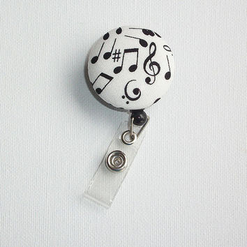 Retractable ID Badge Holder Reel - Fabric Button - Music notes