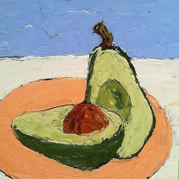 Original Impressionist Painting CALIFORNIA AVOCADO Garden Vegetable Still Life FREE Shipping Lynne French Art 8x10