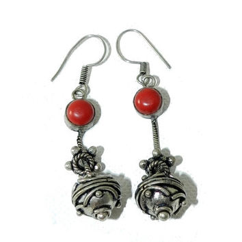 ON SALE--) Tibetan Red CORAL Earrings, Tibetan Silver Dangle/Drop Earrings, Tribal Ethnic Pierced Earrings, Collectible Vintage Jewelry