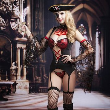 New Women Lingerie     Pirate Costume Cosplay   Black Underwear Hollow Out   Lingerie Costumes