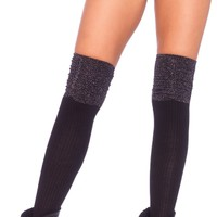 Black and Silver Cotton Socks