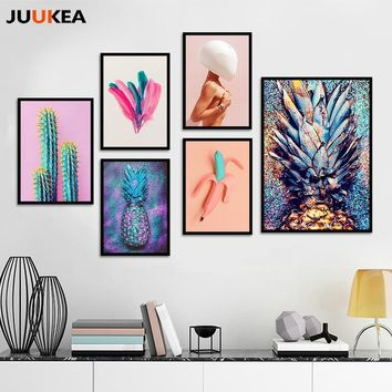 New Modern Fashion Pineapple Bananas Feathers Naked Women, Canvas Print Painting Poster Wall Pictures For Living Room Home Decor