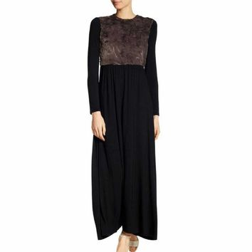 Go Couture Women's Black Long Sleeve Faux Fur Inset Maxi Dress