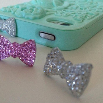 iPhone Earphone Dust Plug Crystal Bow in 2 colors - Cellphone Accessories