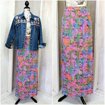 Vintage 70s skirt / Boho / Hippie / Festival / Summer / Beach / long wrap skirt / handmade / cotton / size M