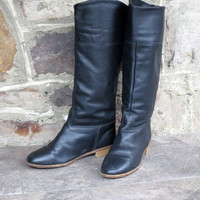 Riding Boots high black leather equestrian boots vintage 80s 90s tall boots high fashion hipster women size 7