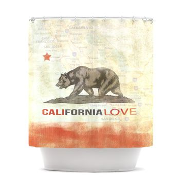 "iRuz33 ""Cali Love"" Shower Curtain"