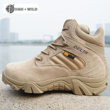 2018 Spring Men Military Boots Genuine Cow Leather Waterproof Tactical Desert Combat Ankle Boot Men's Army Work Shoes