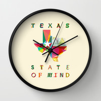 Texas State Of Mind Wall Clock by Fimbis | Society6