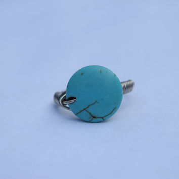 Size 6 Ring, Rings, Wire Wrap Ring, Wire Wrapped Stone, Turquoise Ring, Rustic Jewelry, Bohemian Jewelry, Womens Rings, Wire Ring, Turquoise