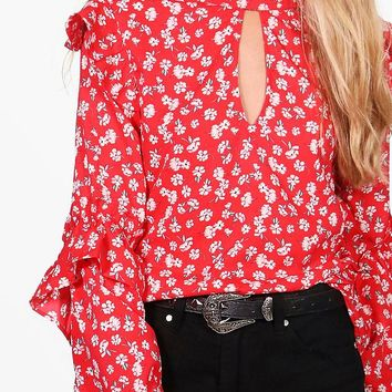 Bella Ditsy Floral Woven Blouse   Boohoo