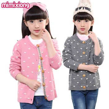 Autumn Winter Thick Girls Dots Sweater Cardigan Children's Knitwear Button-Down Toddler Outwear Pink