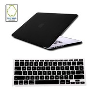 Rubberized 2 in 1 Hard Case Skin for Macbook Pro 15 inches Retina Display with Protective Keyboard Cover-Black